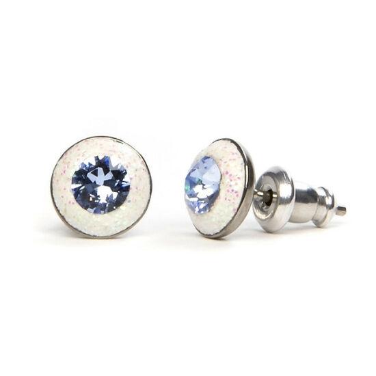 Apró Swarovski kristályos nemesacél fülbevaló - Aqua Blue