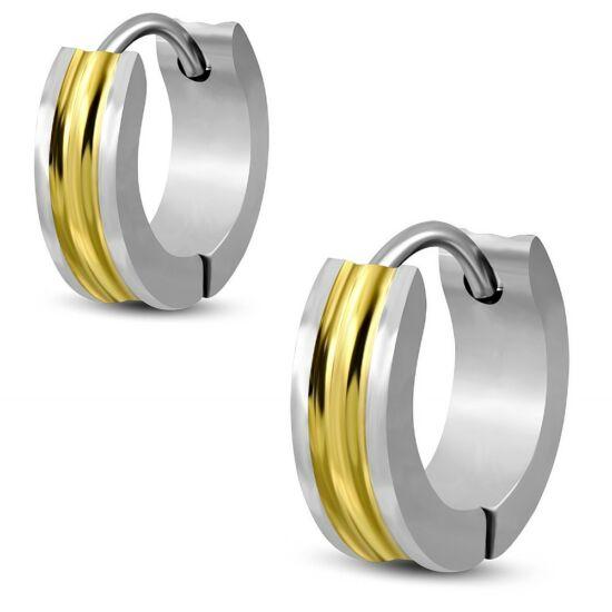 Arany és ezüst színű,  barázdált nemesacél fülbevaló ékszer