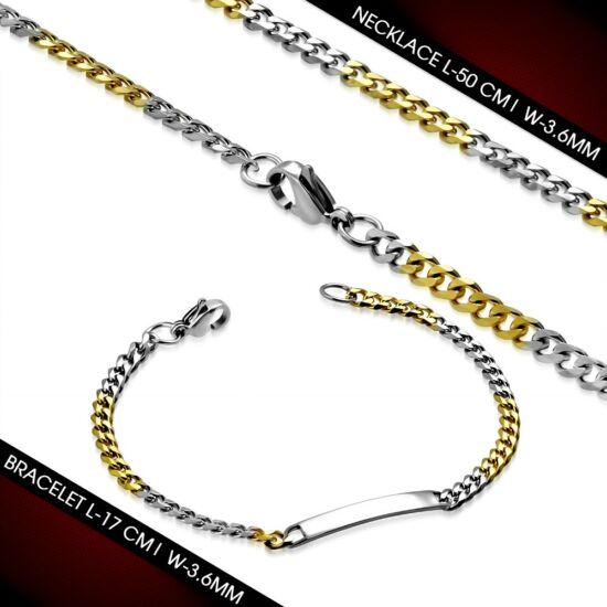 Arany és ezüst színű, figaró stílusú nemesacél nyaklánc - karlánc szett, gravírozható dísszel