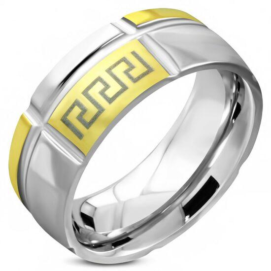Arany és ezüst színű, görög mintás nemesacél gyűrű ékszer