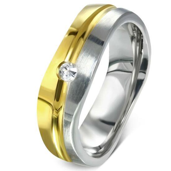 Arany és ezüst színű nemesacél gyűrű ékszer cirkónia kristállyal