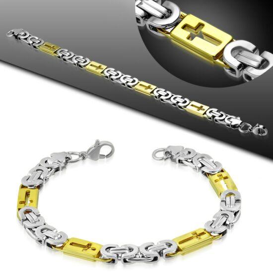 Arany és ezüst színű nemesacél karlánc ékszer, kereszt mintával