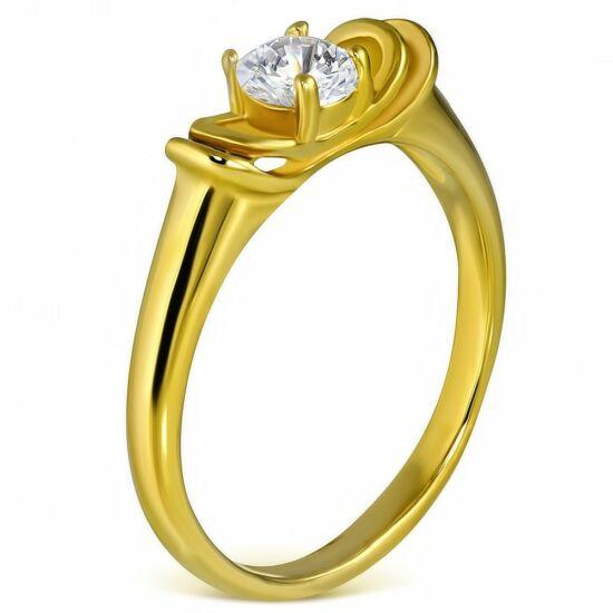 Arany színű, cirkónia köves nemesacél gyűrű-5