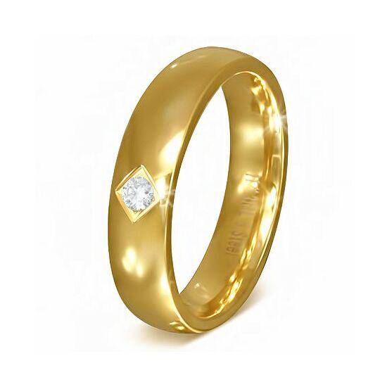Arany színű cirkónia kristályos, klasszikus nemesacél gyűrű ékszer