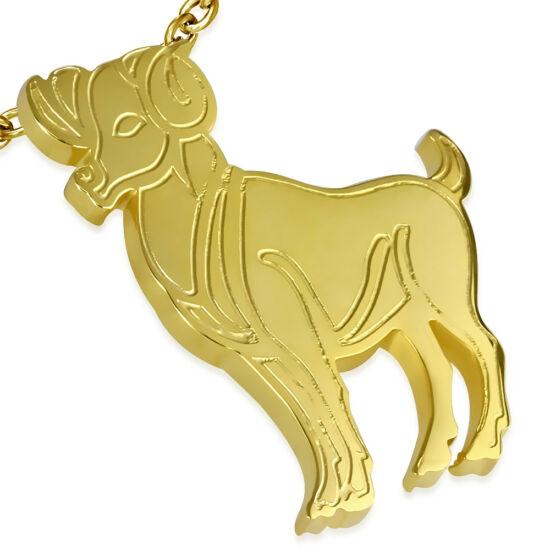 Arany színű, kos horoszkóp nemesacél medál ékszer