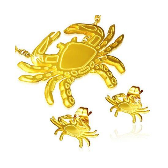 Arany színű nemesacél medál és fülbevaló szett, rák horoszkópos