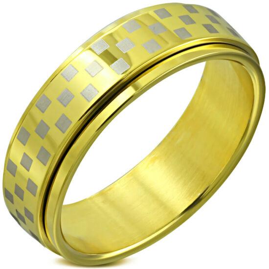 Arany színű sakkmintás, középen forgó nemesascél karikagyűrű-7