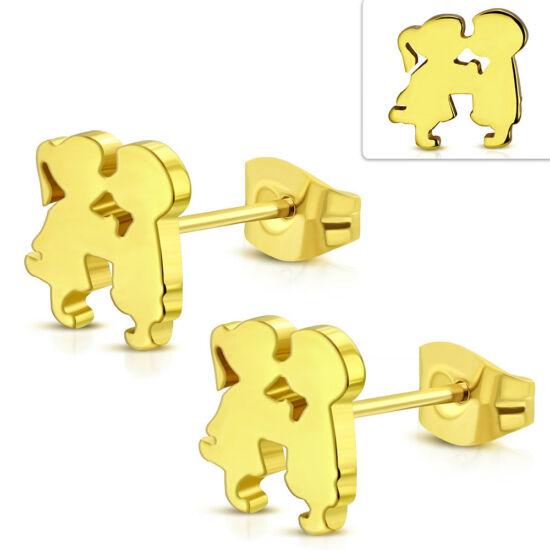 Arany színű, szerelmes pár nemesacél fülbevaló