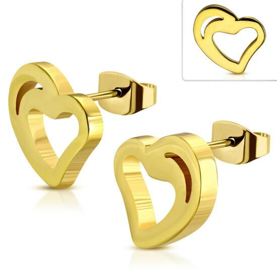 Arany színű, szív alakú nemesacél fülbevaló