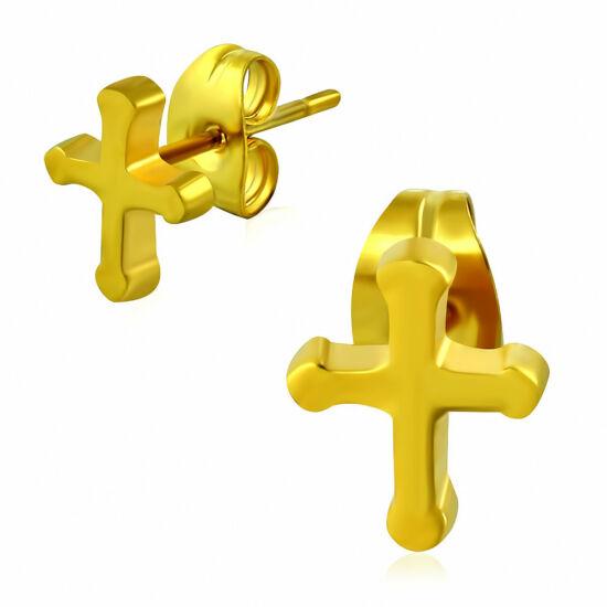 Aranyszínű kereszt nemesacél fülbevaló