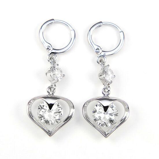 Ariana Swarovski kristályos fülbevaló - Áttetsző szív