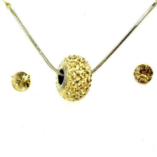 Aura arany színű Swarovski® kristályos ékszerszett - Pavé Beads 14 mm, Golden Shadow + díszdoboz