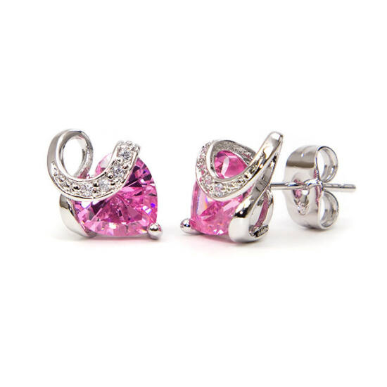 Aurora Swarovski kristályos szív alakú fülbevaló - Rózsaszin