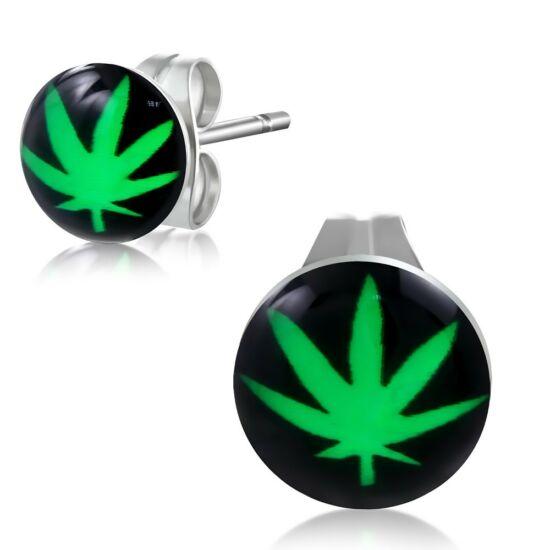 Cannabis mintás nemesacél fülbevaló ékszer
