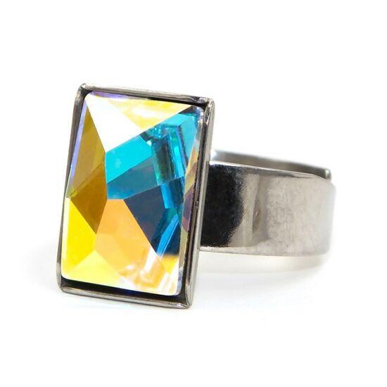 Caroling Swarovski® kristályos nemesacél gyűrű - Crystal AB