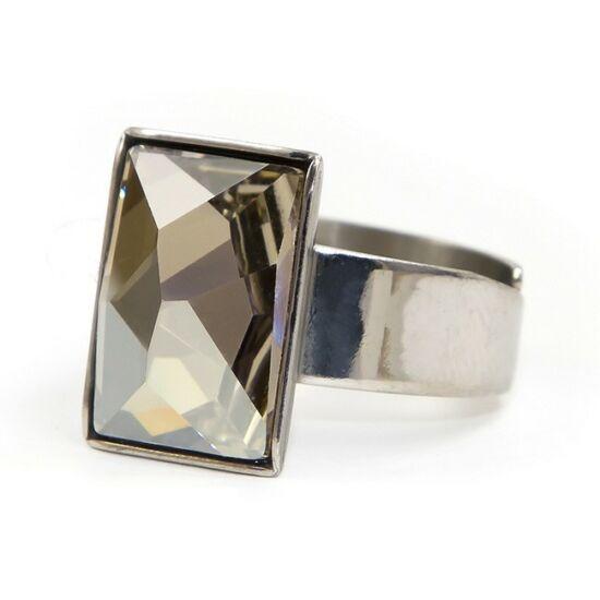 Caroling Swarovski® kristályos nemesacél gyűrű - Silver Night