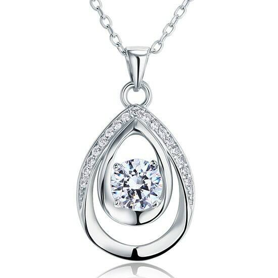 Csepp alakú gyémánt nyaklánc - 925 ezüst ékszer
