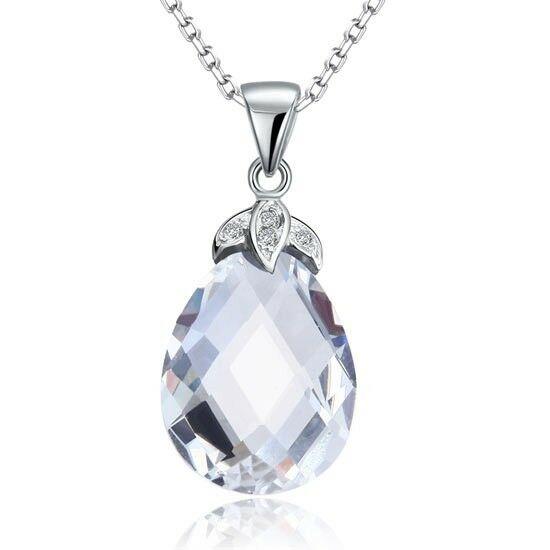 Csepp alakú kristály nyaklánc - 925 ezüst ékszer