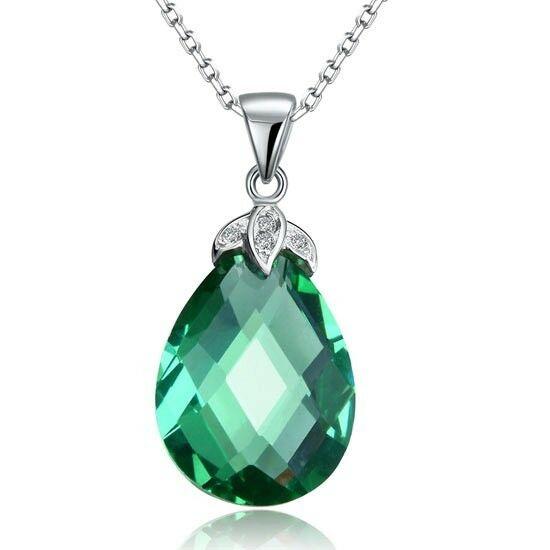 Csepp alakú zöld kristály nyaklánc - 925 ezüst ékszer