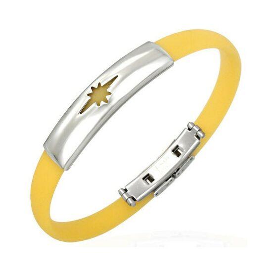 Csillag mintás kaucsuk karkötő ékszer sárga