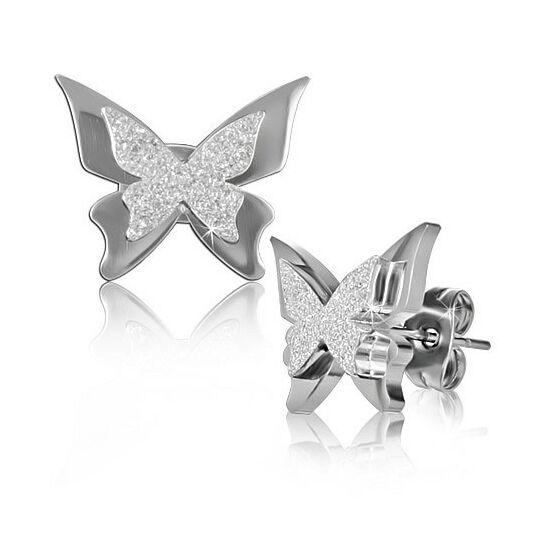 Csillogó ezüst színű pillangó nemesacél fülbevaló ékszer