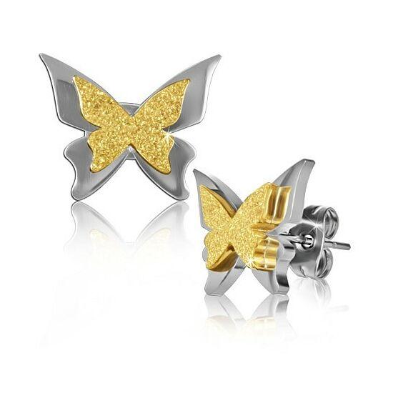 Csillogó pillangó nemesacél fülbevaló ékszer