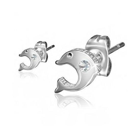 Delfin alakú, ezüst színű fülbevaló, cirkónia kristállyal