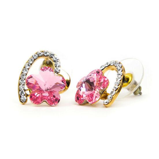 Dina Swarovski kristályos fülbevaló - Rózsaszín virág arany szívben