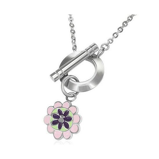 Divat nyaklánc virág medállal