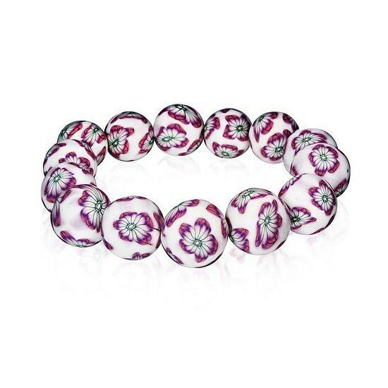 Divatos lila virág mintás gyöngyös bizsu karkötő