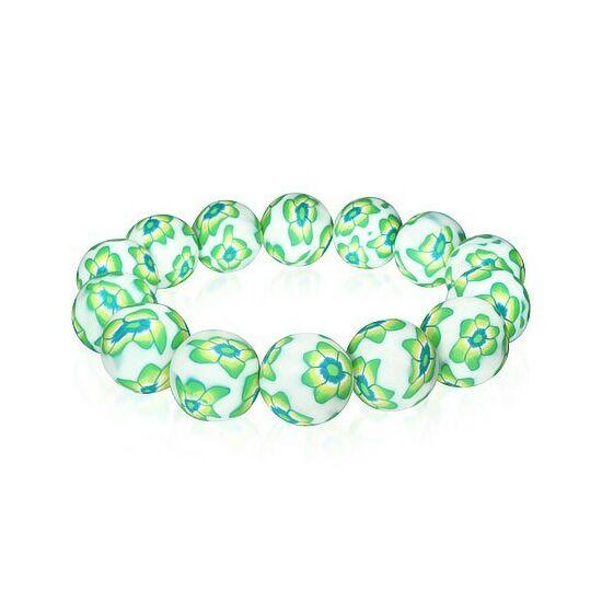 Divatos zöld-fehér virág mintás gyöngyös bizsu karkötő