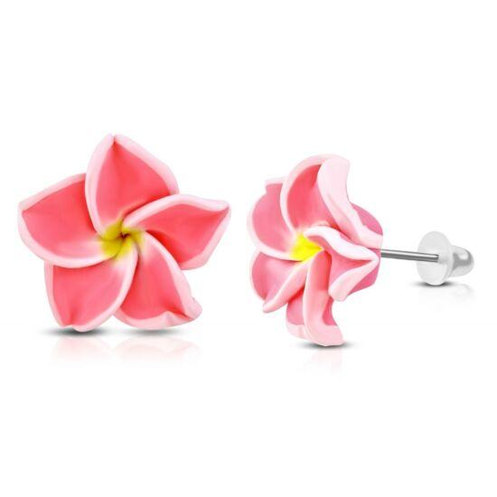 Élénk rózsaszín-fehér pluméria virág fülbevaló