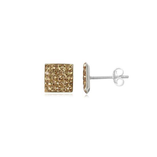 Ezüst fülbevaló barna kristályokkal - 925 ezüst ékszer