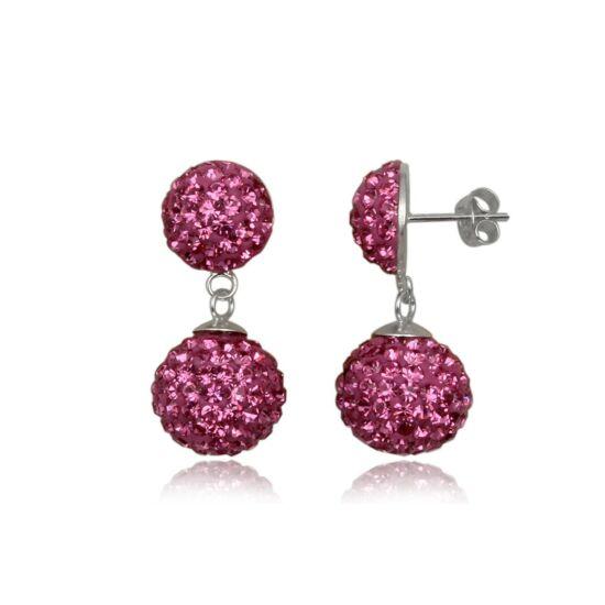 Ezüst fülbevaló pink kristályokkal - 925 ezüst ékszer