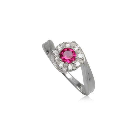 Ezüst gyűrű pink és fehér cirkónia kristállyal-6