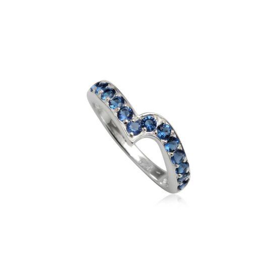 Ezüst gyűrű sötétkék cirkónia kristállyal-6