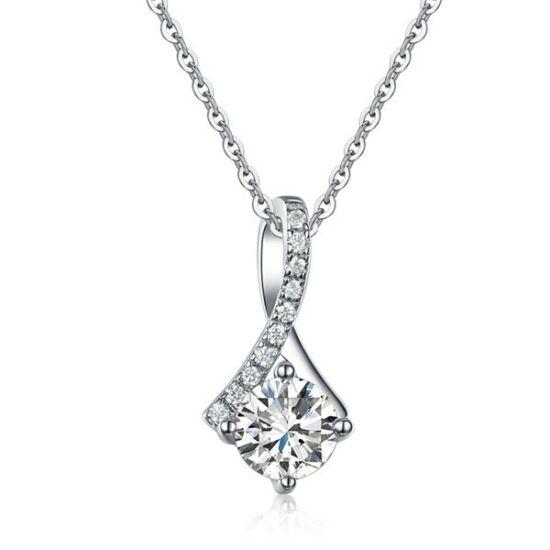 Ezüst nyaklánc szintetikus gyémántkővel - 925 ezüst ékszer
