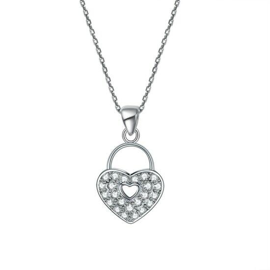 Ezüst nyaklánc, szív alakú, szintetikus gyémánt medállal - 925 ezüst ékszer