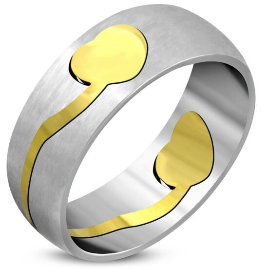Ezüst színű, arany szív mintás nemesacél gyűrű ékszer