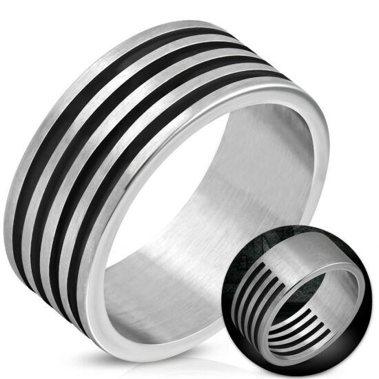 Ezüst színű barázdált, kivágott nemesacél gyűrű-6,5