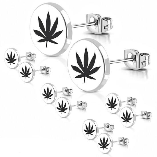 Ezüst színű, cannabis mintás nemesacél fülbevaló