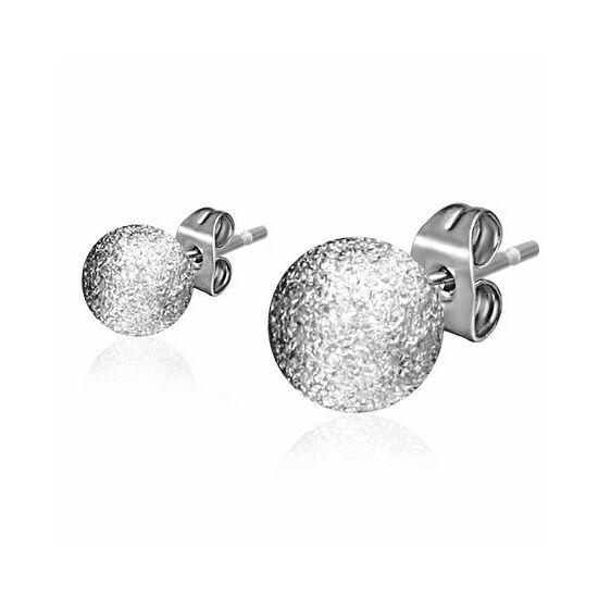 Ezüst színű gömb alakú nemesacél fülbevaló
