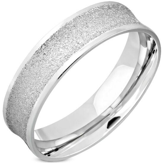 Ezüst színű, homokfúvott nemesacél gyűrű ékszer