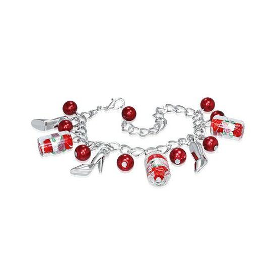 Ezüst színű karlánc piros, női cipős üvegdíszekkel