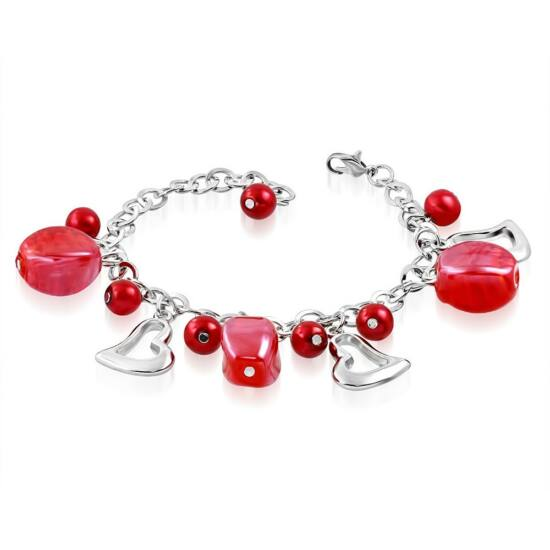 Ezüst színű karlánc piros üvegdíszekkel