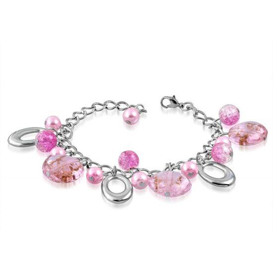 Ezüst színű karlánc rózsaszín üvegdíszekkel rózsaszín