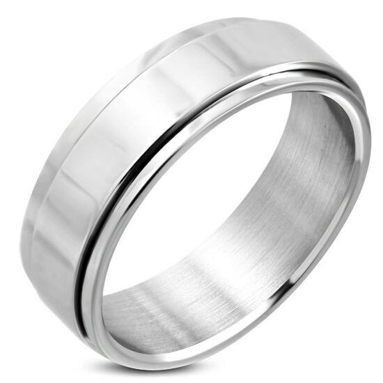 Ezüst színű, középen forgó, gravírozható nemesacél gyűrű ékszer