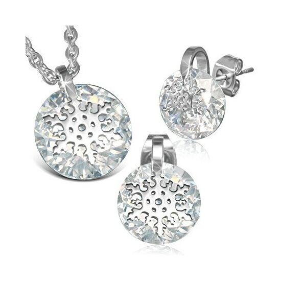Ezüst színű kristályos nemesacél fülbevaló és medál