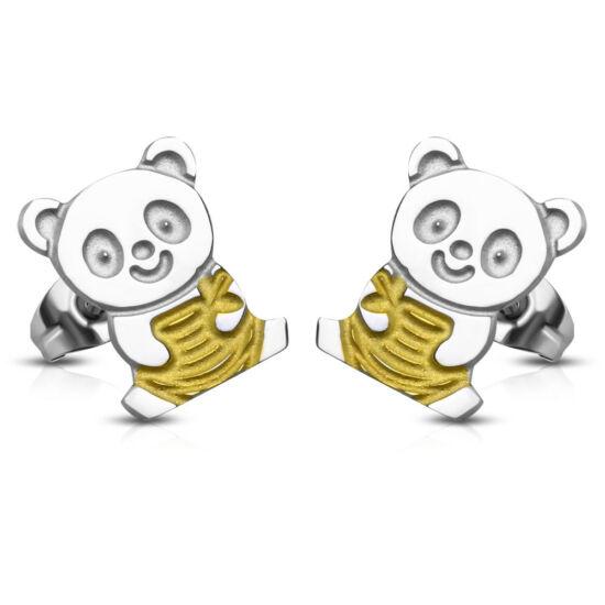 Ezüst színű maci alakú nemesacél fülbevaló ékszer, arany színű dísszel