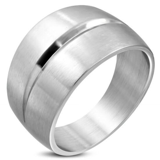 Ezüst színű, matt felületű, hornyos nemesacél gyűrű ékszer